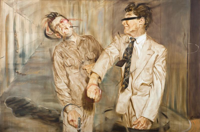Fight Scene III- Study for Two Figures, 2010, Oil on canvas, 100 x 150cm