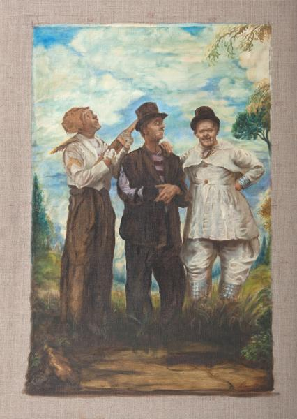 Three Painters Pose as Clowns