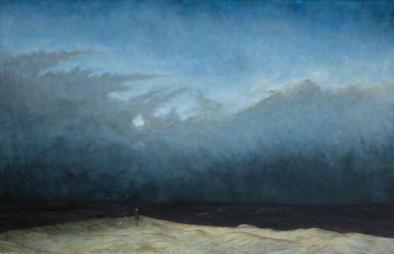 Krina by the Sea, After Caspar David Friedrich, monk by the sea