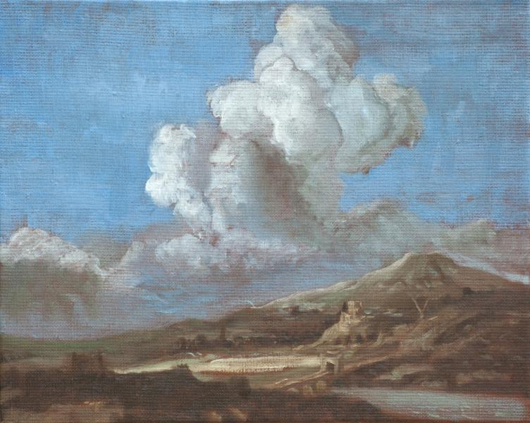 Study of Clouds after  Jacob Ruisdael, Clearing in the Clouds, The Sunbeam (1650)